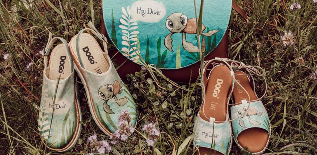 Beispielhafte Schuhe und Taschen von DOGO, die zum Weltschildkrötentag reduziert werden