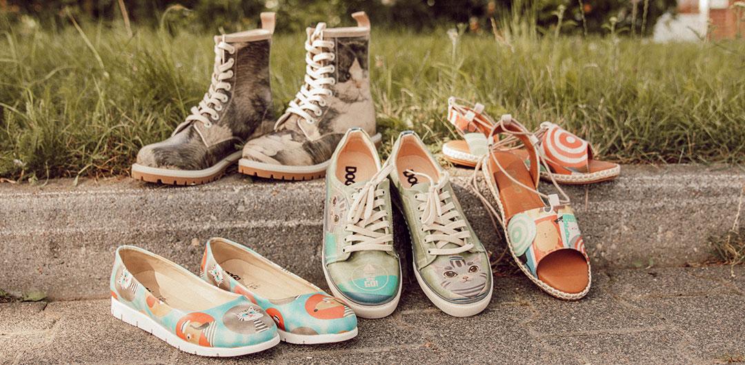 Bild aller Schuhe, die zum Weltkatzentag rabattiert sind