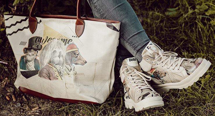 Abbildung der Plateau-Stiefel Adriana und einer DOGO-Tasche mit Hundemotiv