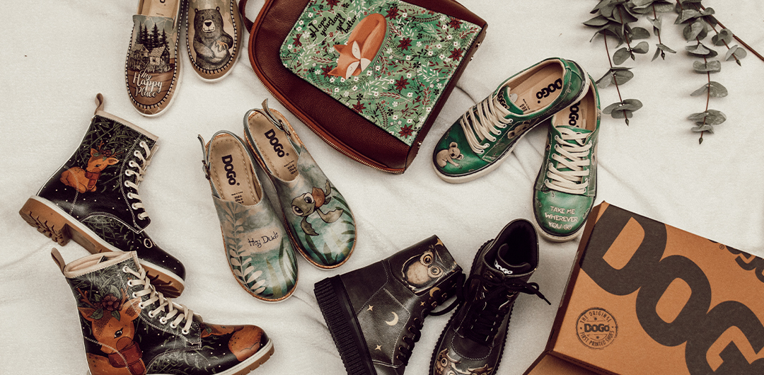 Unterschiedliche Taschen und Schuhe mit Tiermotiven von der Marke DOGO